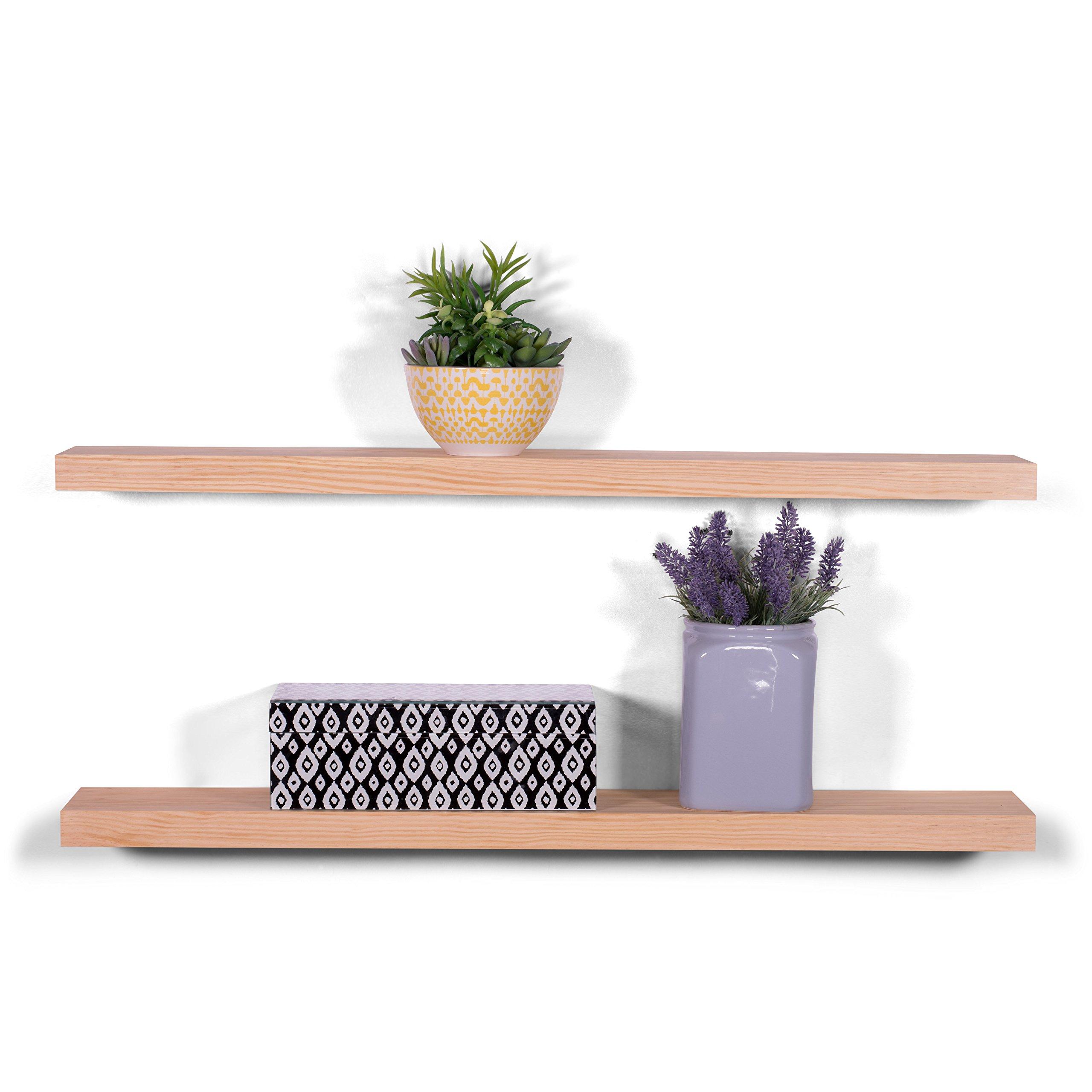 DAKODA LOVE 5.25'' Deep Clean Edge Floating Shelves, USA Handmade, Clear Coat Finish, 100% Countersunk Hidden Floating Shelf Brackets, Beautiful Grain Pine Wood Wall Decor (Set of 2) (36'', Natural)