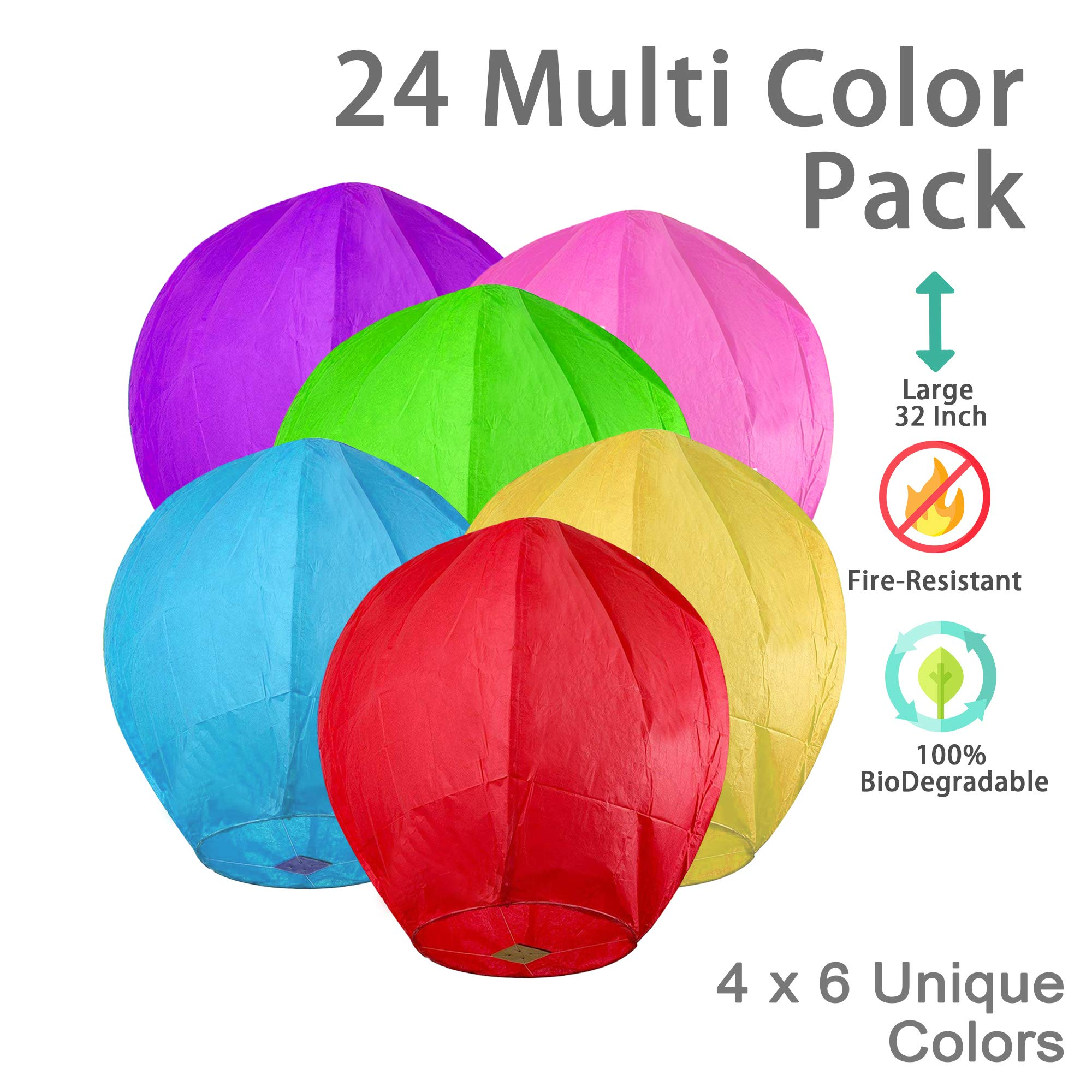 OOKU Large 34'' Chinese Sky Lanterns 24 Pack Colorful 100% Biodegradable Lanterns | Japanese/Chinese Lanterns for Weddings, Celebrations, Ceremonies | EcoFriendly 4 x 6 Colors Wishing Lanterns by OOKU