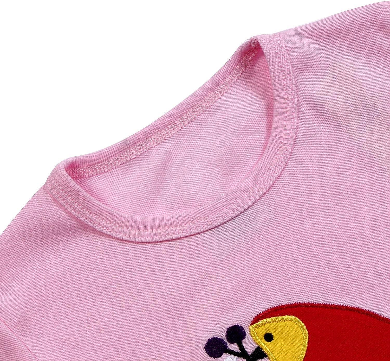 Qtake Fashion 1-12 Years Girls Pajamas Children Clothes Set 100/% Cotton Little Kids Pjs Sleepwear