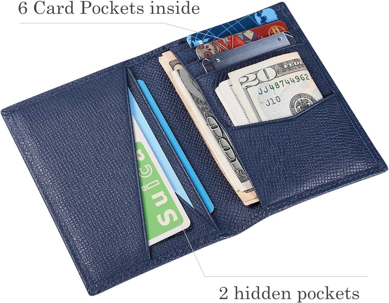 Bifold Portefeuille Homme Cuir V/éritable Bleu Marine Hardwork Secret Porte Cartes de Cr/édit RFID Blocage Rangement Carte de Cr/édit et Billets