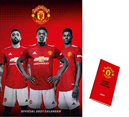 Manchester United FC A3 Calendar 2021 and Slim Diary with Organisational Stickers Gift Set
