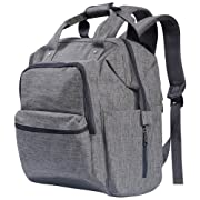 Backpack Diaper Bag for Mom, Multifuctional Waterproof Baby Nappy Organizer with Insulated Pockets, Stroller Straps and Changing Pad, Grey