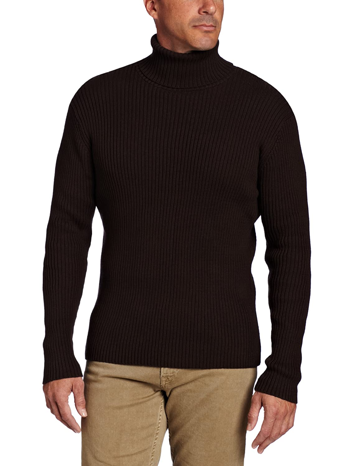 Alex Stevens Men's Ribbed Turtleneck, Dark Heather Grey, X-Large ...