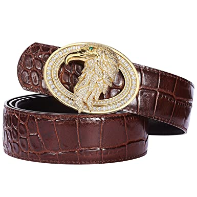 7183e4d5d41 Men s Belts Luxury Genuine Leather Brown Dress Belt for Men Alligator  Pattern Eagle Plaque Buckle