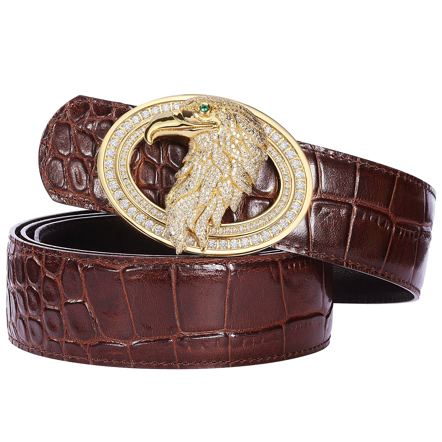 Men's Belts Luxury Genuine Leather Brown Dress Belt for Men Alligator Pattern Eagle Plaque Buckle