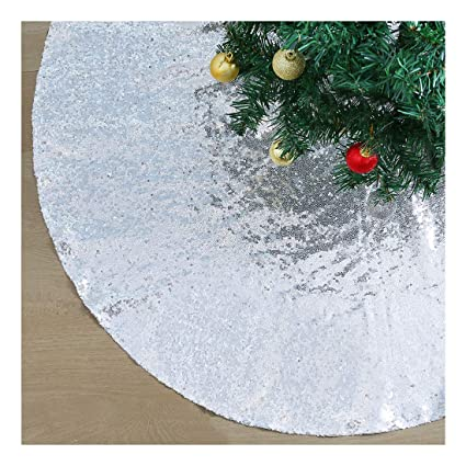 QueenDream Tree Skirts 48 Inch Silver Tree Skirt Merry Christmas Snowflake Sequin Table Linen Tree Skirt for 4ft Tree best Christmas tree skirts
