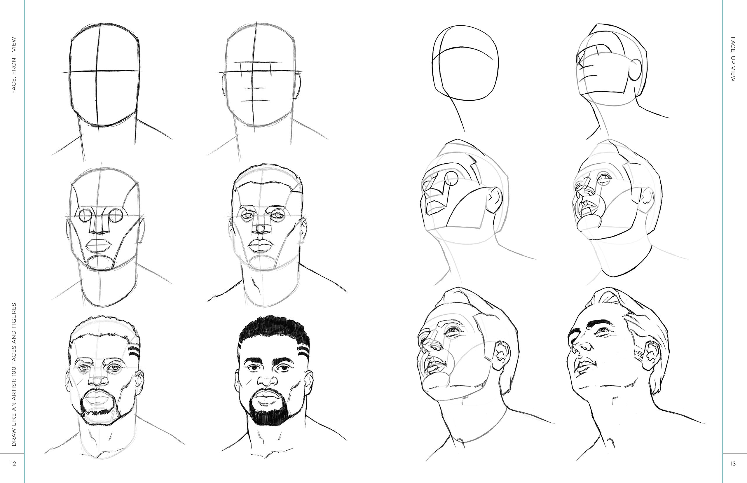 Draw like an artist 100 faces and figures step by step realistic line drawing a sketching guide for aspiring artists and designers chris legaspi