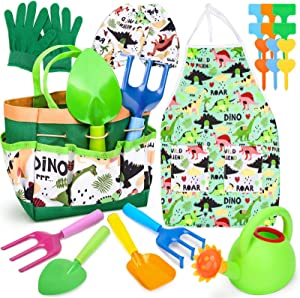 Aoskie Kids Gardening Tool Set with Dinosaur Tote Bag, Apron, Watering Can, Rake and Shovel Set STEM Toys Gifts for Age 3 4 5 6 7 Year Old Boys Girls