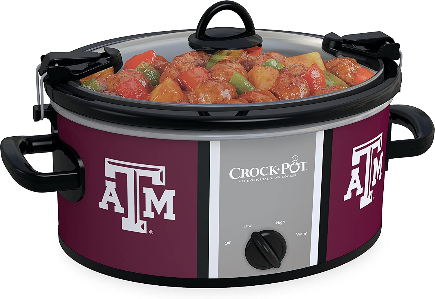 Crock-pot SCCPNCAA600-TAM Texas A&M 6 quart Cook and Carry Slow Cookers, White