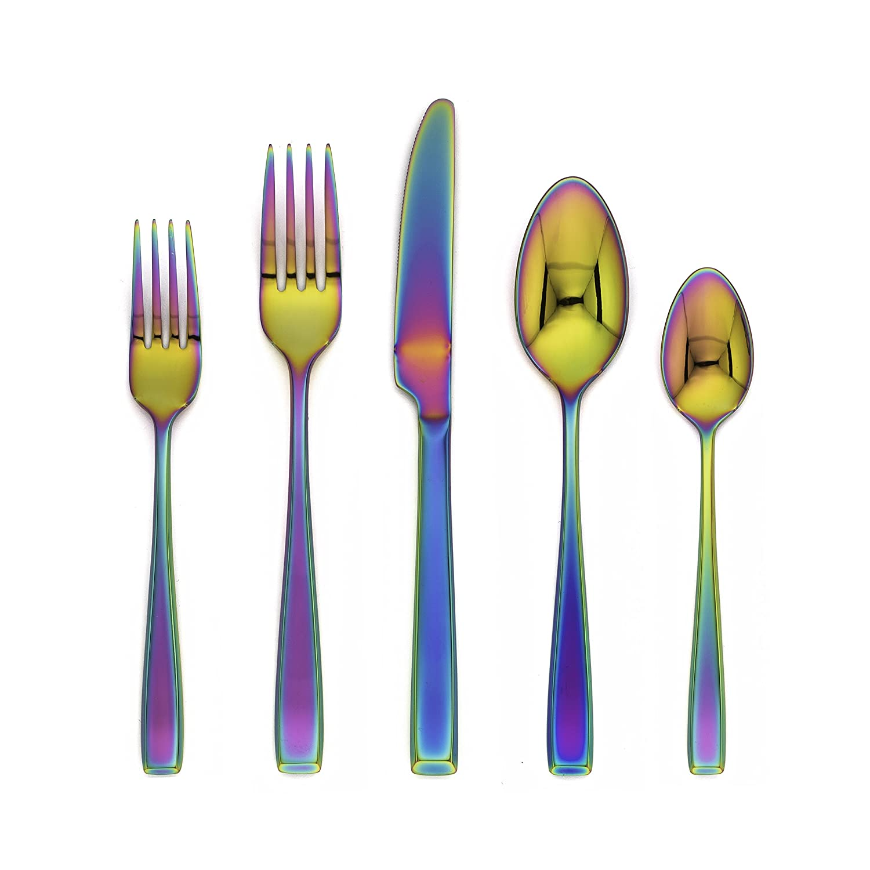 amazoncom flatware sets home  kitchen - cambridge silversmiths logan rainbow mirror  piece flatware set