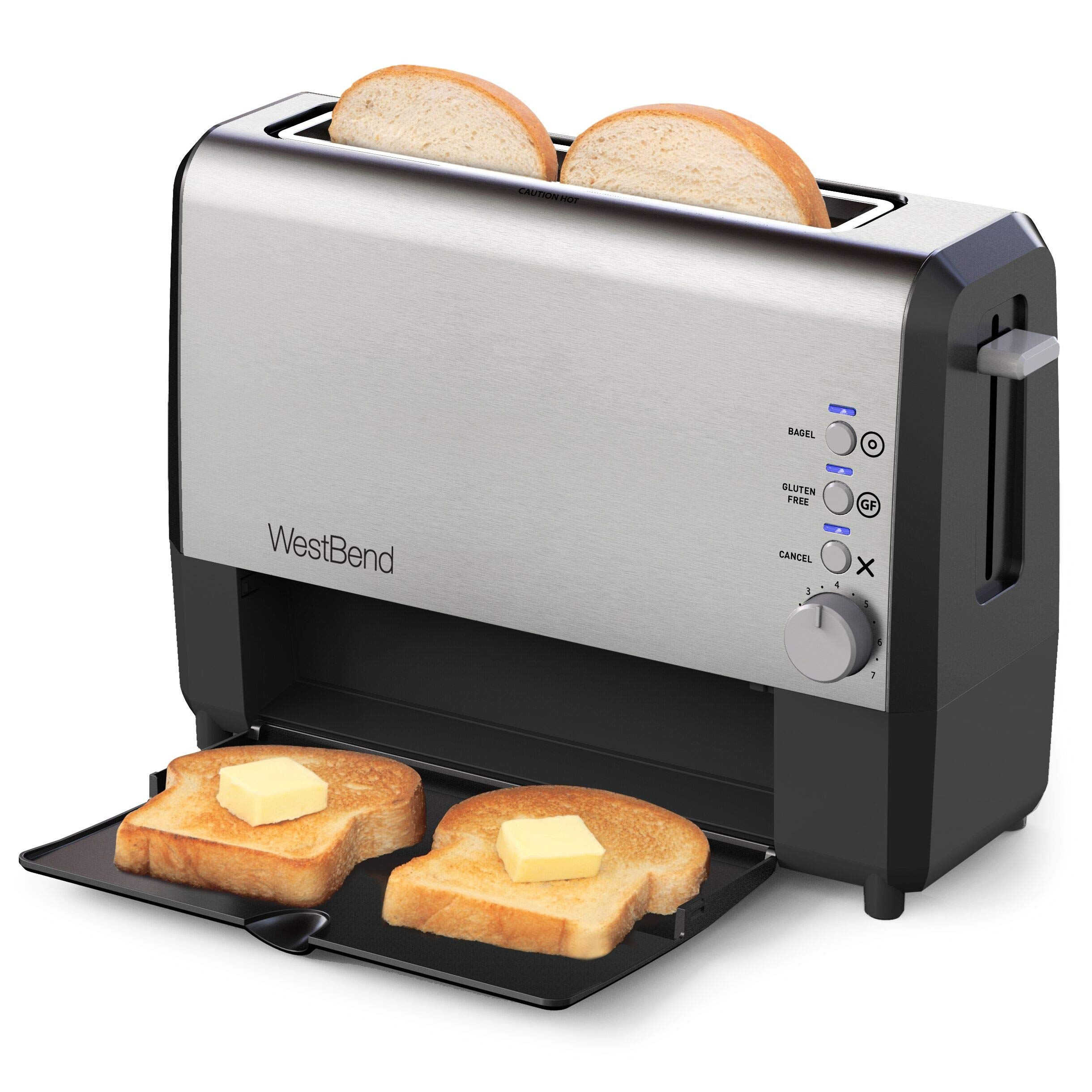 West Bend 77222 Quick Serve Wide Slot Toaster Bagel and Gluten-Free Settings with Cool Touch Exterior Includes Removable Serving Tray, 2-Slice, Silver by West Bend