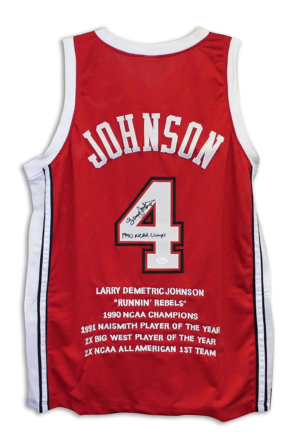 23e5402ca9ae cheap Larry Johnson UNLV Runnin Rebels Autographed Red Jersey with  Embroidered Stats Inscribed