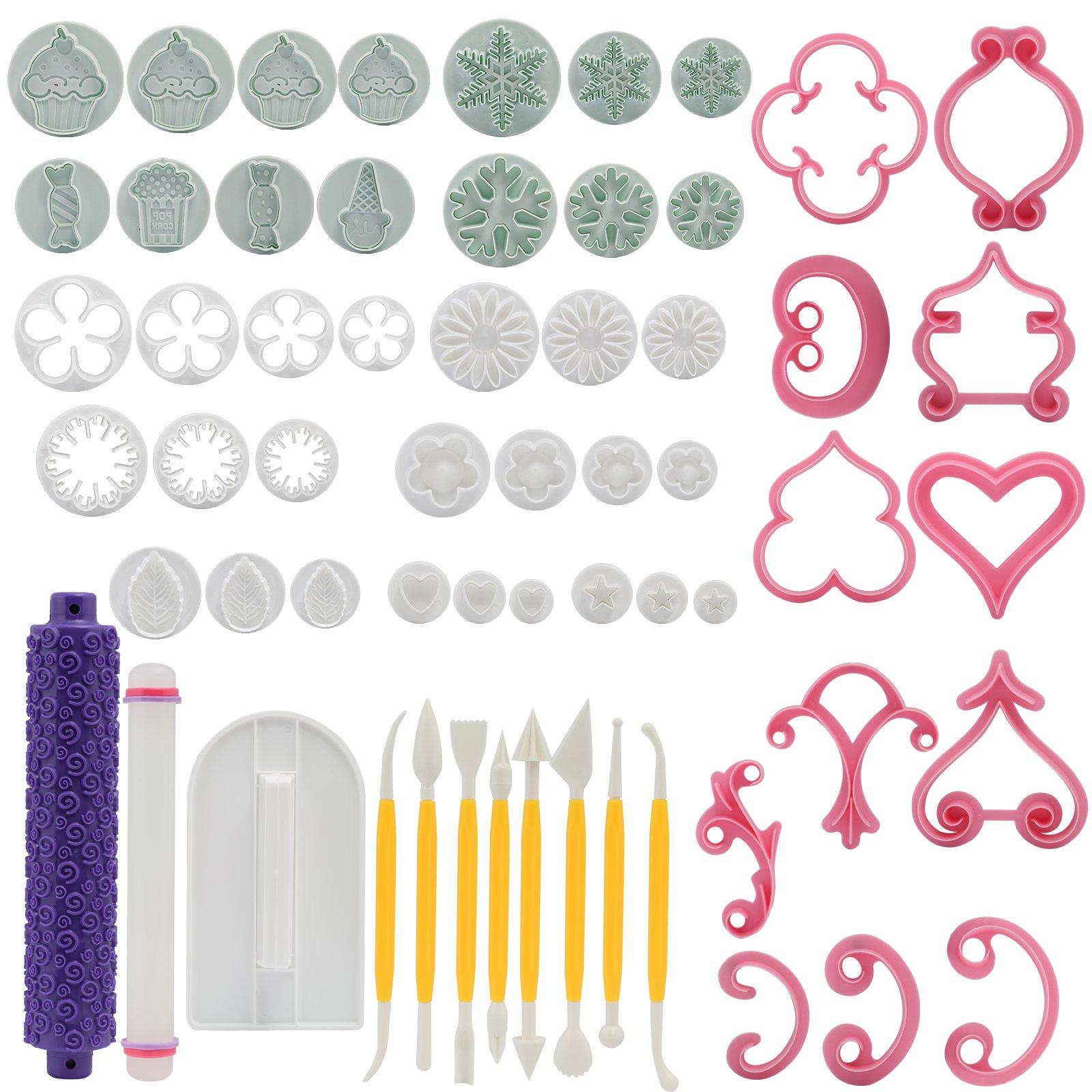 60 Piece Cake Decorating Tools, Fondant Cake Cutters Molds Modelling Tool Set