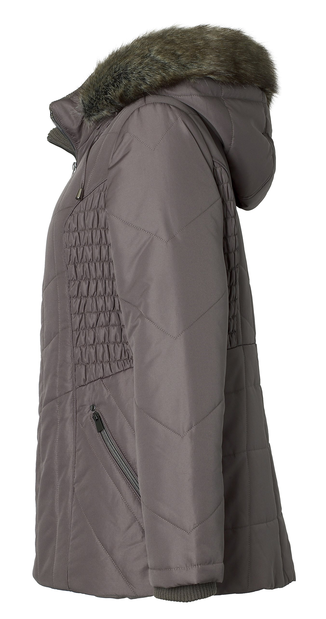 Sportoli Women's Midlength Ruched Detail Plush Lined Puffer Coat with Zip-Off Detacheable Fur Trim Hood - Fog with Polished GunMetal (2X) by Sportoli (Image #5)