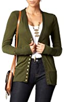 Conceited Women's Cardigan V-Neck Snap Button Down Soft Knit Long Sleeve Sweater