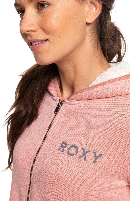 Roxy Slopes Fever A-Sweat À Capuche Zippé Doublé en Matière Sherpa pour Femme - Sweatshirt à Capuche zippé doublé en matière Sherpa - Femme Rosette Heather