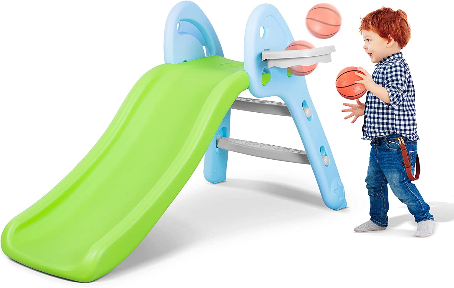 MaxKare Kids Dinosaur Slide Playground Slide for Toddler with Basketball Hoop Playground Climber Playset for Indoor/& Outdoor