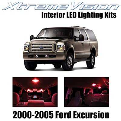 Xtremevision Interior LED for Ford Excursion 2000-2005 (12 Pieces) Red Interior LED Kit + Installation Tool: Automotive