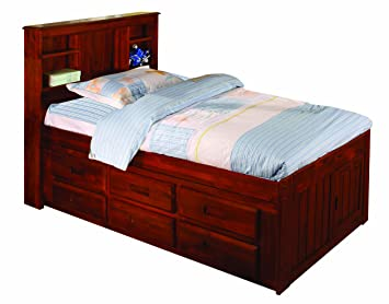 discovery world furniture bookcase captains bed with 6 drawer storage twin merlot - Twin Bed Frame With Drawers