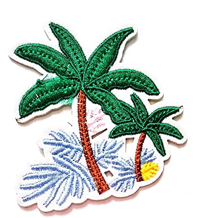 763bf8b7 Nipitshop Patches Cute Design Tropical Palm Tree Beach Scene Coconut Summer  Beach Cartoon Kids Patch Embroidered
