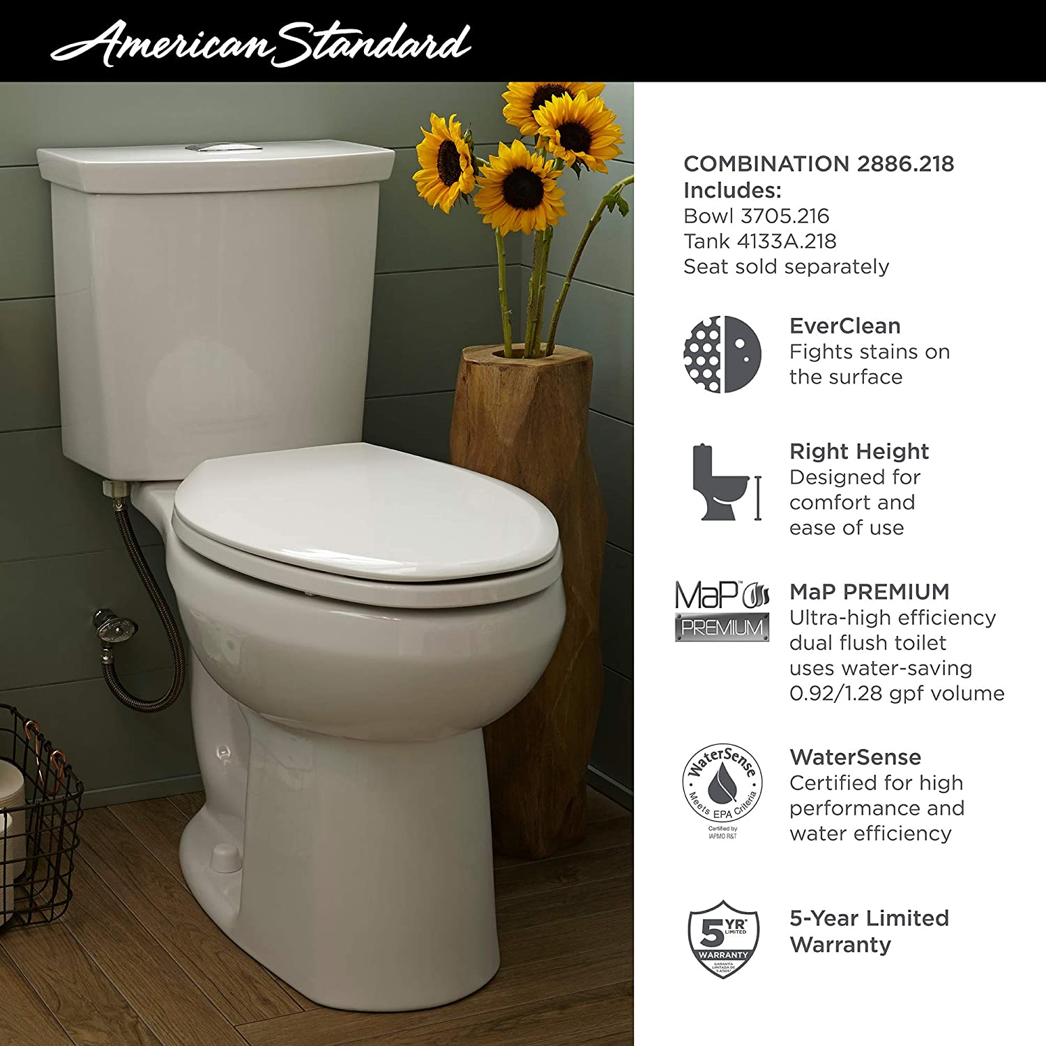 American Standard 2886218 020 H2option Dual Flush Right Height Elongated Toilet 0 92 1 28 Gpf White Amazon Com