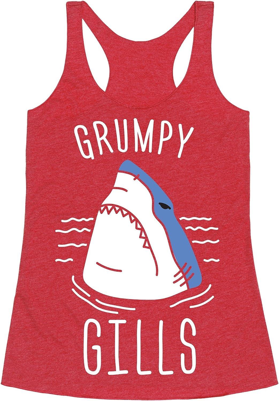 LookHUMAN Grumpy Gills Shark (White) Heathered Black Women's Racerback Tank