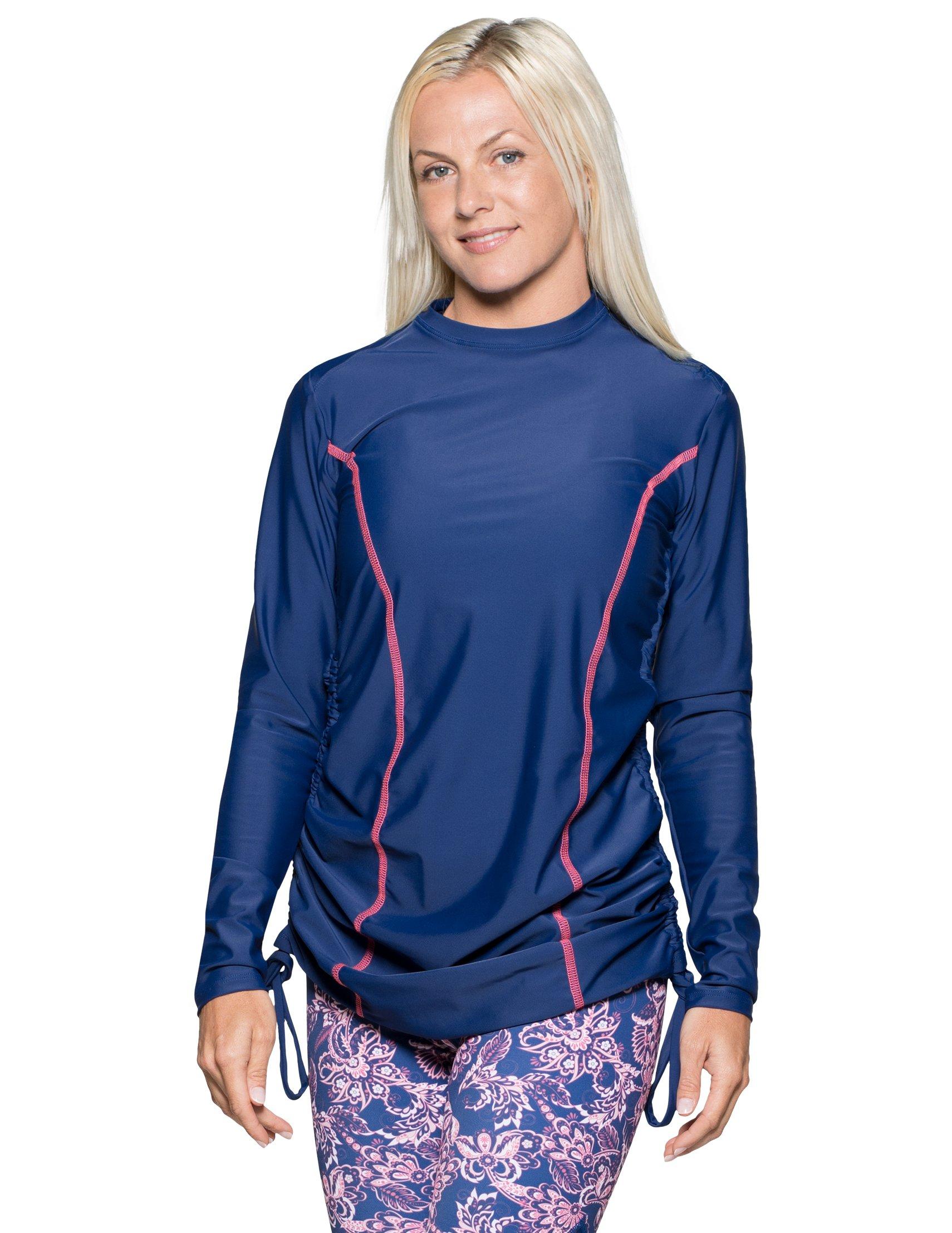 Tuga Women's Ruched Swim Shirt (UPF 50+), Navy, Medium