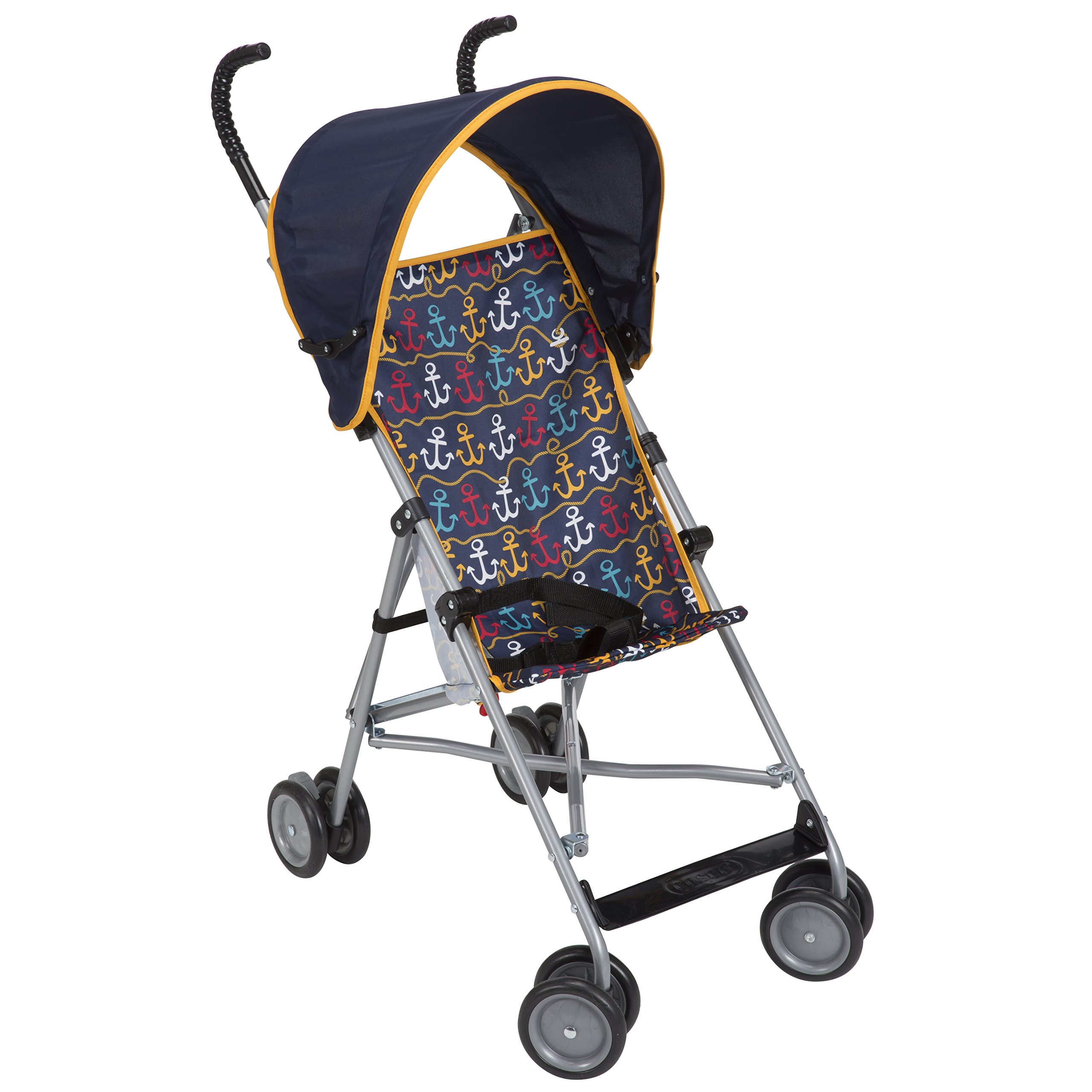 Cosco Umbrella Stroller with Canopy and Three-Point Harness, Foldable Design, Anchors Away