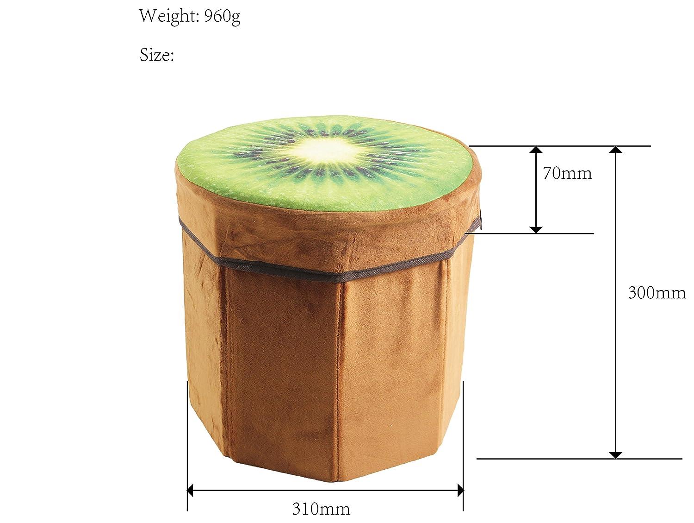 Kenmont 31 x 30 x 7 cm Creative Large Stump Storage Box chests Foldable Stool Maximum load capacity 150 Kg Bench storage box Laundry Basket, multi-colour (Kiwi)