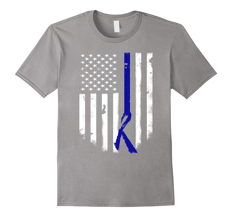 Thin Blue Line American Flag T-shirt Ribbon Distressed Tee-FL