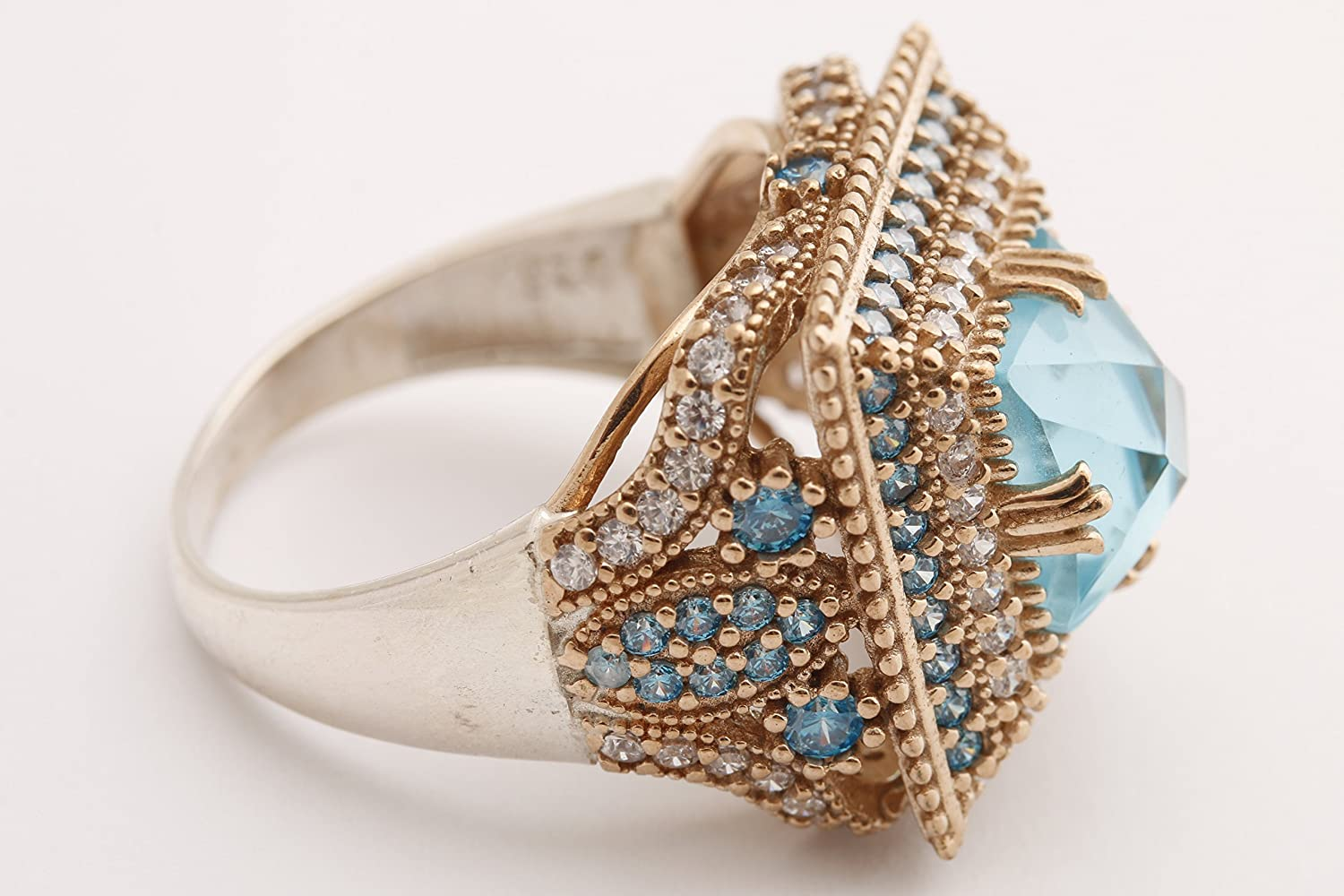 Turkish Handmade Jewelry Square Shape Princess Cut London Blue and Round Cut Topaz 925 Sterling Silver Ring Size All
