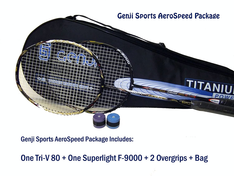 Genji Sports Aero Speed Badminton Package, Right, Small/Long, Black/White GJ-Aero