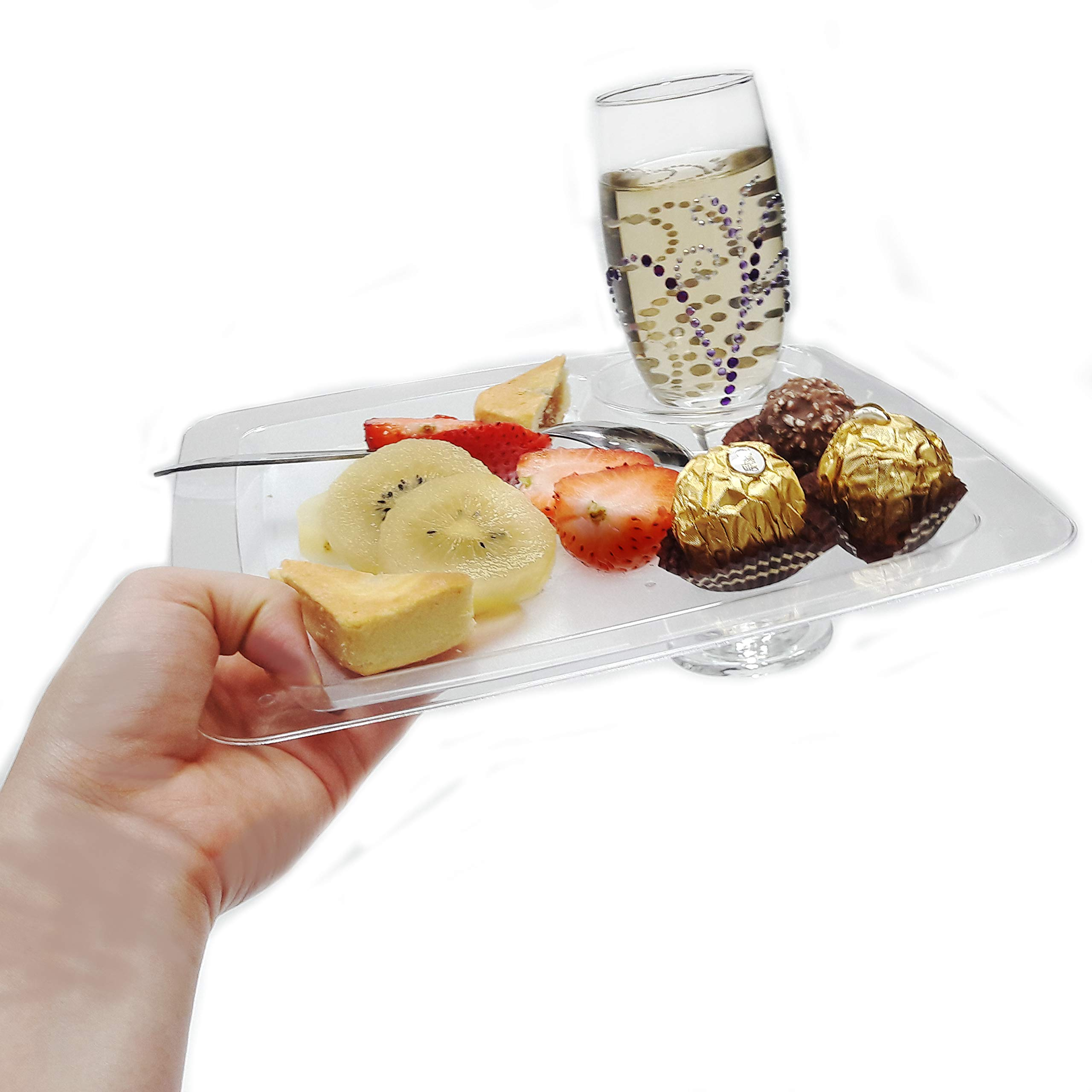JCHB 9'' 48pc Clear Stemware Glass Holder Plates for Cocktail, Wine Tasting, Dinner, Appetizer, Dessert, Food Buffet, Washable Party Plates by JC HUMMINGBIRD