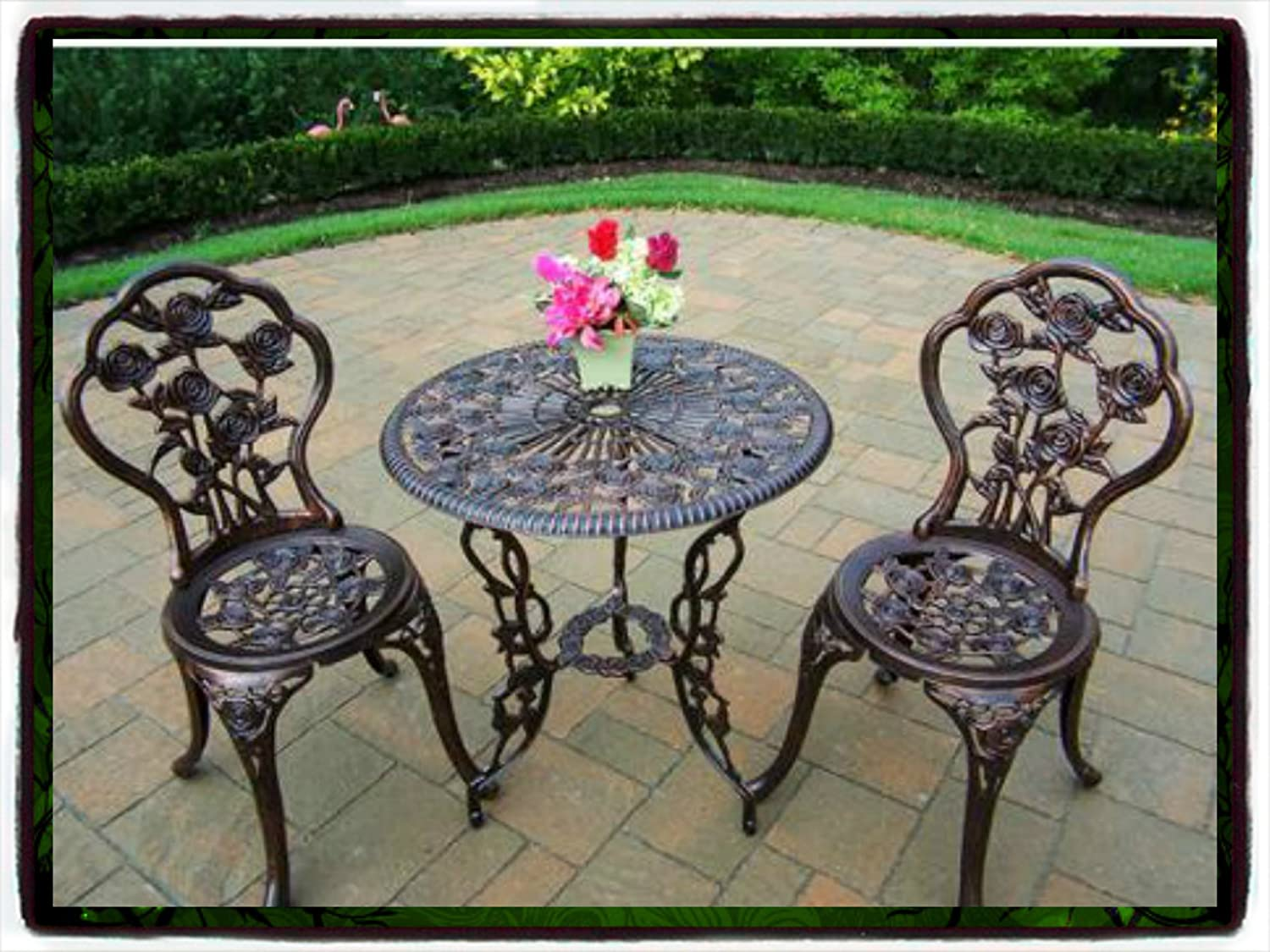 Patio outdoor furniture rose design cast aluminum bistro set antique copper wicker garden piece table dining chairs new chair pool package all weather lawn