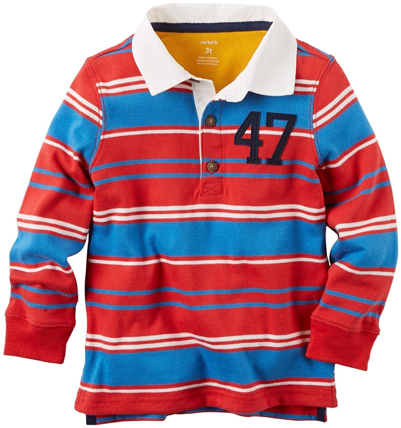 Carters Baby Boys Striped Rugby Shirt-Red