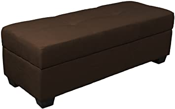 Epic Furnishings Vanderbilt Loveseat Tufted Padded Hinged Storage Ottoman  Bench, Microfiber Suede Chocolate Brown