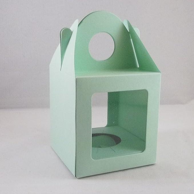 10 grandes de color verde claro de la magdalena modessimple/magdalena/cajas de torta con 2 ventanas de hadas: Amazon.es: Hogar