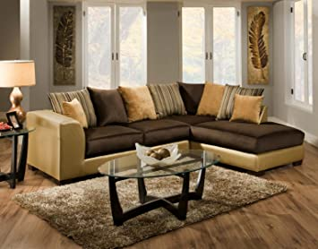 Chelsea Home Furniture Alpha 2 Piece Sectional, Shimmer Gold/Implosion  Coffee