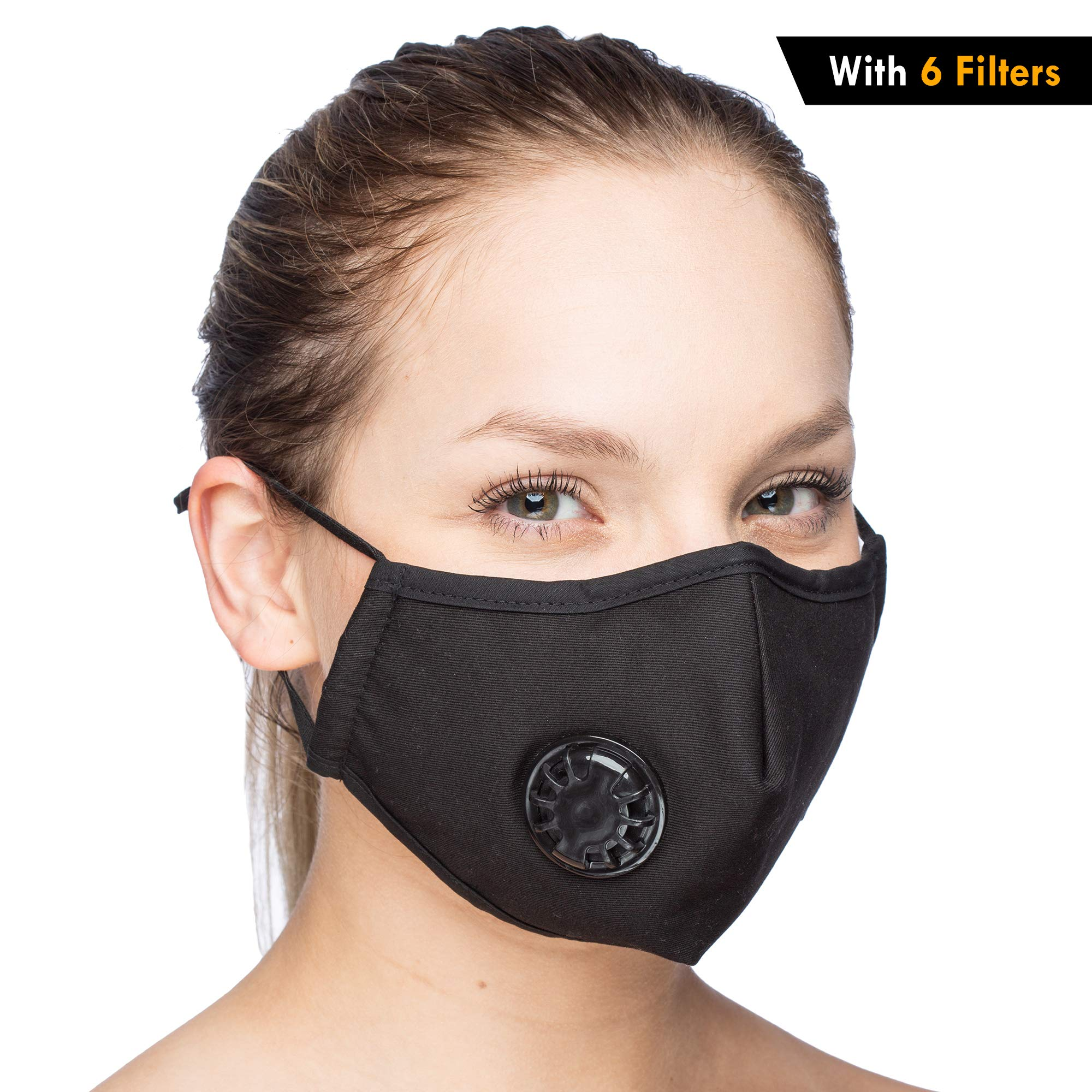 One Mask + 6 Filters Military Grade N99 Carbon Activated Anti Dust Face Mouth Cover Mask Respirator-Dustproof Anti-bacterial Washable -Reusable Respirator Comfy-Cotton Face Mask (N99 Mask - Black)