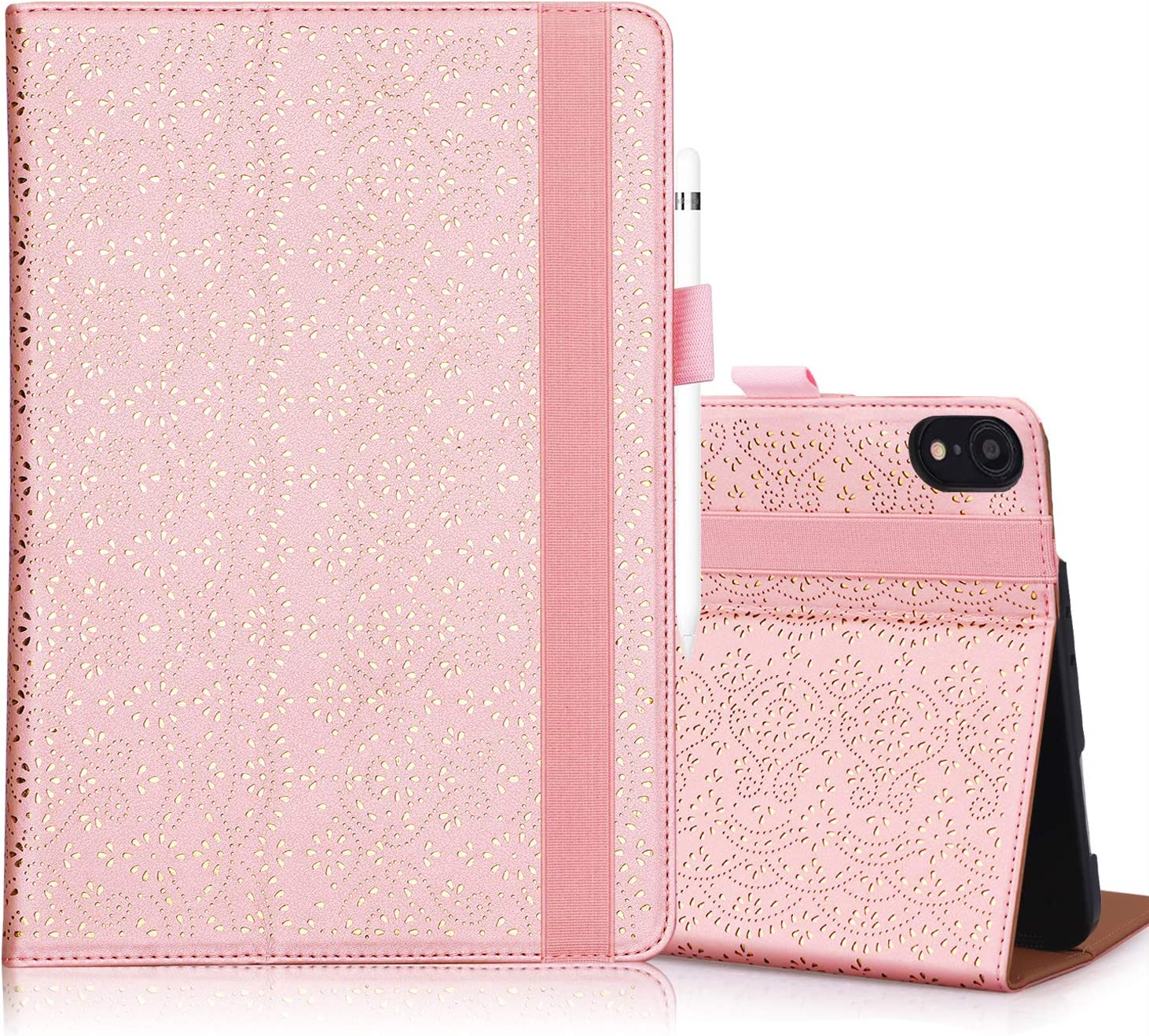 "WWW iPad Pro 12.9"" Case 2018 3rd Generation,[Support Apple Pencil Charging][Luxury Laser Flower] PU Leather Case with Auto Wake/Sleep and Multiple Viewing Angles for iPad Pro 12.9"" 3rd Gen 2018 Pink"