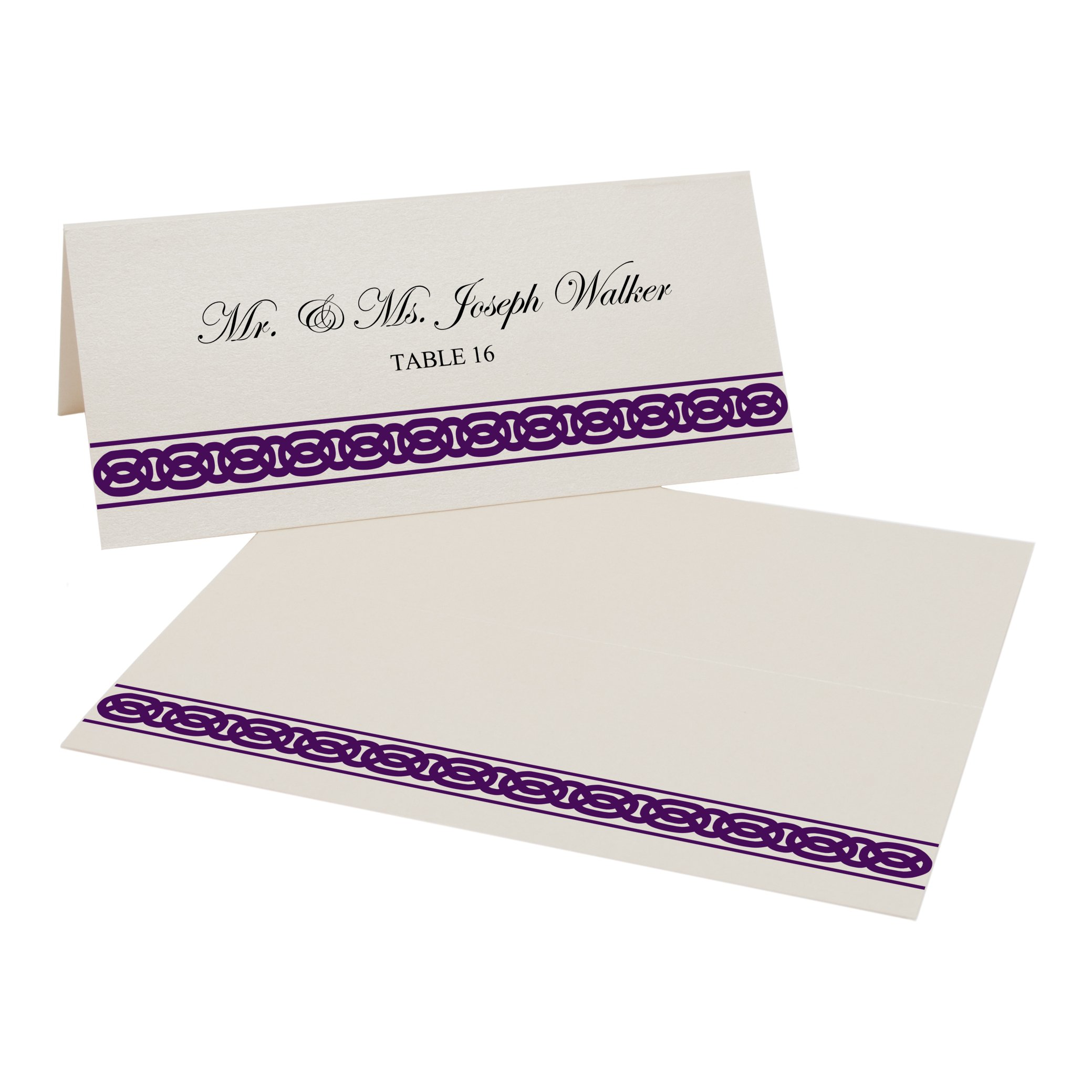 Celtic Band Border Easy Print Place Cards, Champagne, Eggplant, Set of 450 (113 Sheets) by Documents and Designs