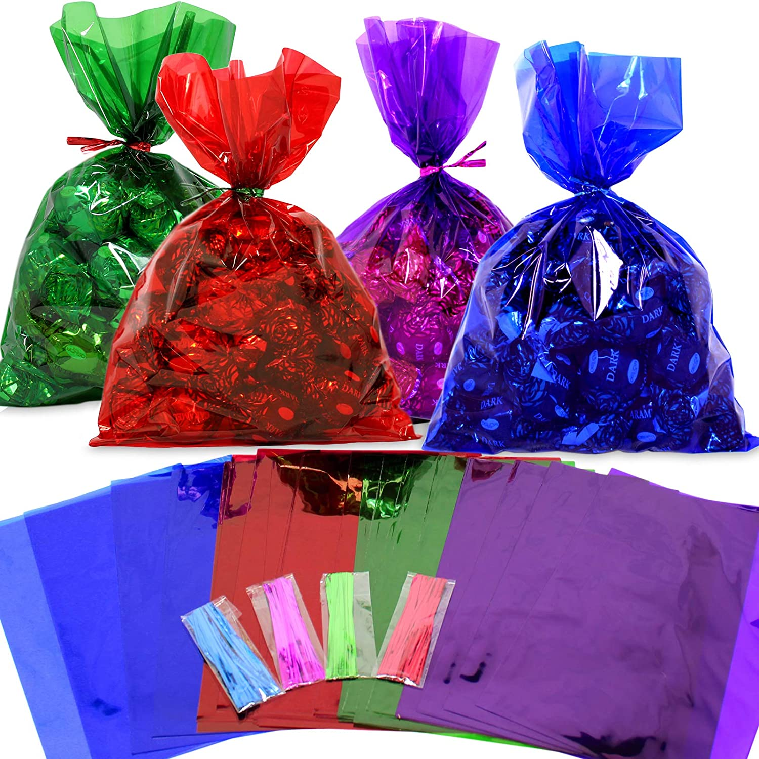 Cellophane Bags 100 pcs Mix Colors (6 Inch x 9 Inch) | Colorful Cello Treat Bags with Twist Ties | 2.5 Mil Quality Cellophane Treat Bags | Transparent Color 6x9 Inch Bags | by Anapoliz