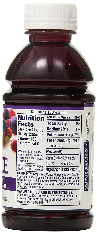 Amazon Com Ocean Spray 100 Cranberry Juice 10 Ounce Pack Of 6