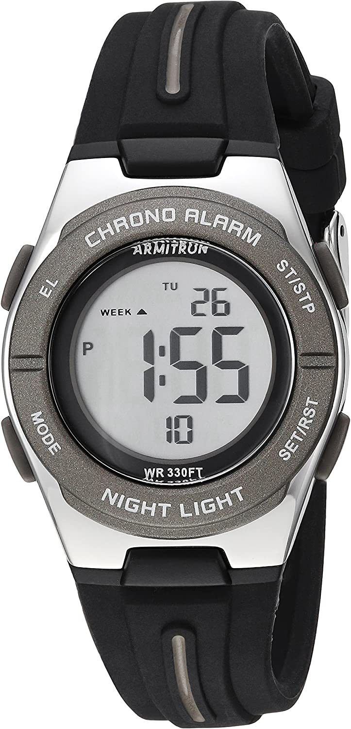 Armitron Sport Women's 45/7096BLK Dark Grey Accented Digital Chronograph Black Silicone Strap Watch