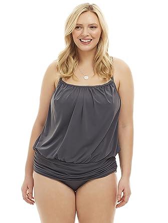 35d174fb84 Always For Me Women's Plus Size Racerback Blouson Two Piece Tankini Set -  Ladies' Swimwear at Amazon Women's Clothing store: