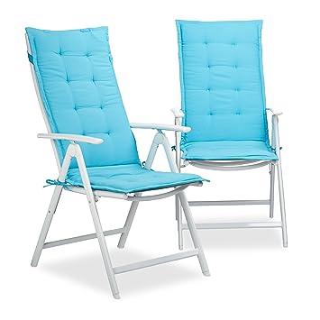 relaxdays coussin pour fauteuil de jardin lot de 2 matelas de chaise terrasse balcon hxlxp - Fauteuil De Terrasse