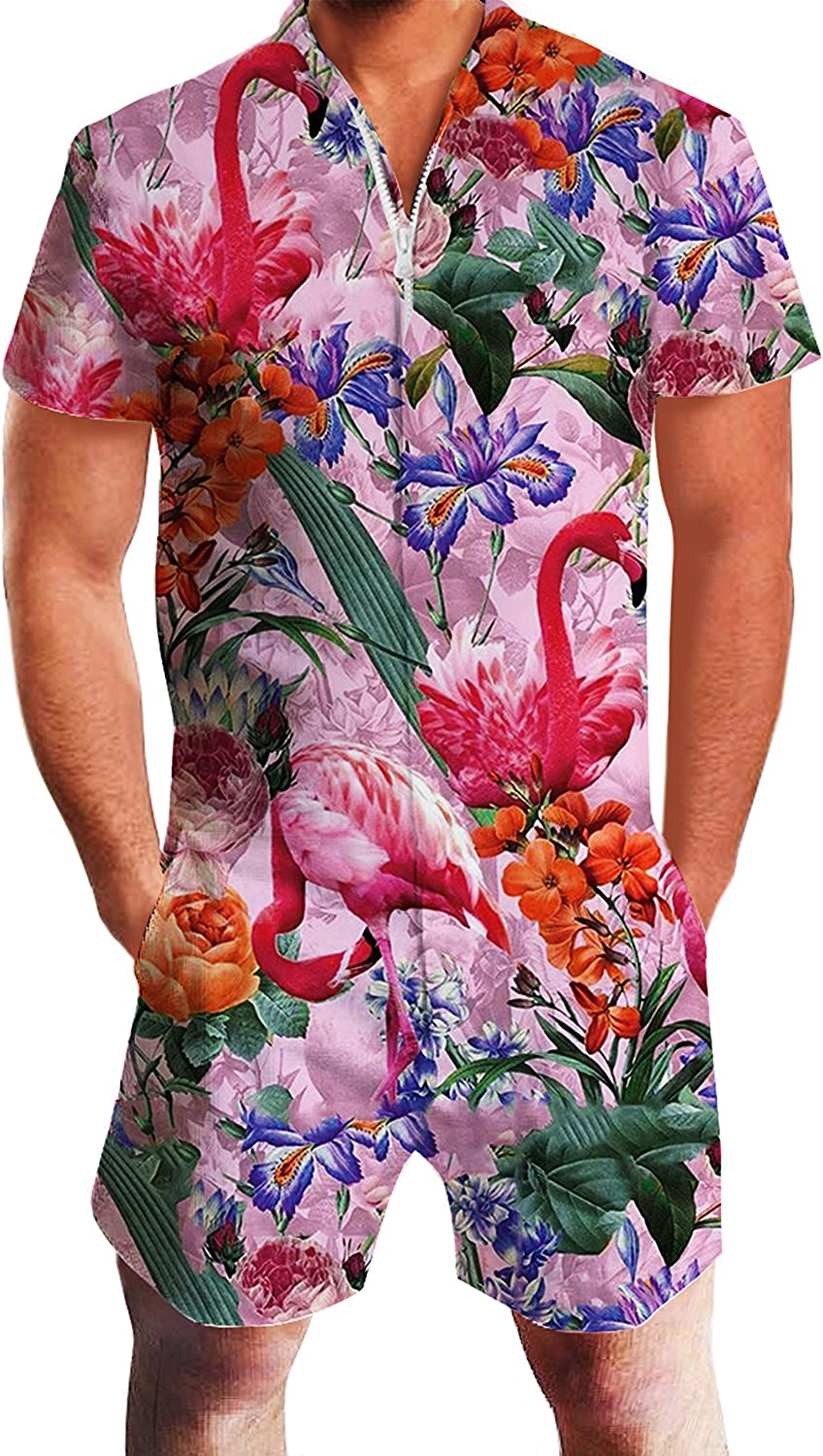 UNIFACO Mens Printed One Piece Short Sleeve Zipper Rompers Summer Short Jumpsuit Overall Pants w/Pocket