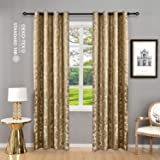 Allbright 100% Blackout Lined Curtains, Jacquard + Thick 2 Layers Completely Blackout Window Treatment Thermal Insulated Drapes for Living Room/Bedroom (52''W x 96''L, Gold Brown 2 Panel)