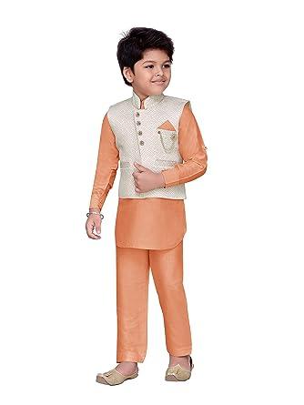 d52284441f AJ Dezines Kids Indian Wear Bollywood Style Kurta Pyjama Waistcoat for Boys  (601-PEACH