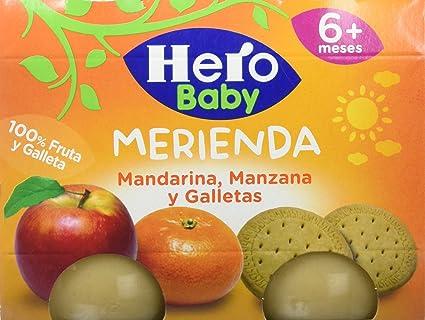 Hero Baby Merienda Mandarina, Manzana y Galletas - Pack de 2 x 190 g -